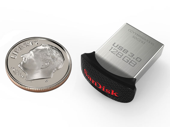 Product: 128GB SanDisk Ultra Fit USB 3.0 Flash Drive, with dime
