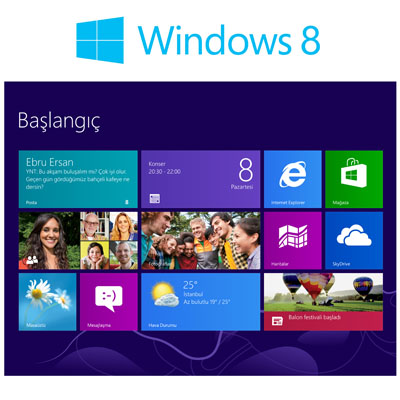 Yepyeni arayüzü ile Windows 8