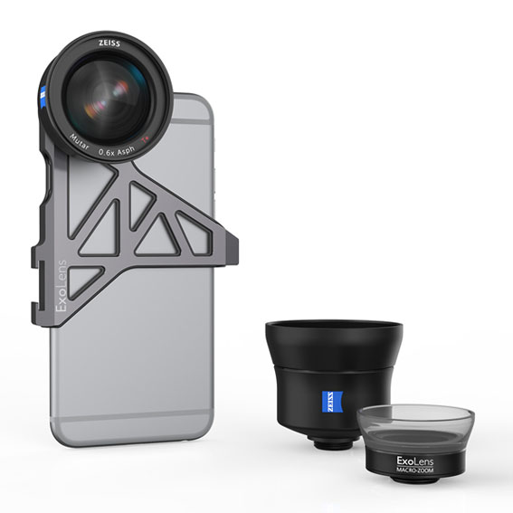 The ExoLensTM wide-angle lens with optics by ZEISS on an Apple®