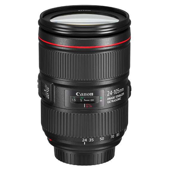 EF 24-105mm f4L IS II USM Slant with cap